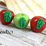 Apple beads, Lampwork glass apple beads, red & green apples, jewellery supplies