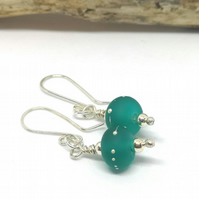 Teal lampwork earrings, silver droplet earrings