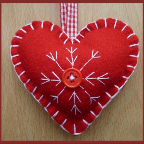 Red Heart (White Stitch) Christmas Hanger