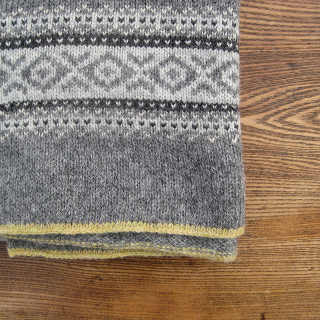 Fair isle Blanket Pure Wool Grey