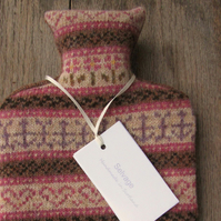 fair isle hot water bottle pure wool pink