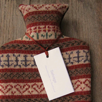 Fair isle hot water bottle orange 2l