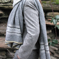 Fair Isle Pure Wool Scarf Grey
