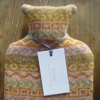 Hot water bottle Pure Wool yellow pattern
