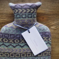 Hot water bottle pure wool blue pattern
