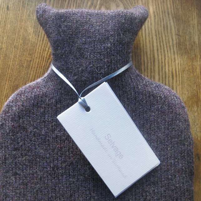 Hot water bottle pure wool purple