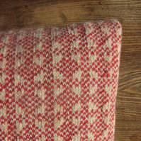 Pure Wool Cushion Fair Isle Orange