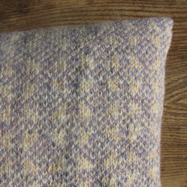 Pure Wool Cushion Fair Isle Blue