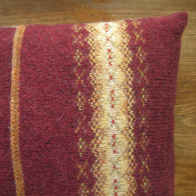 Fairisle Cushion Pure Wool Claret