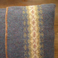 Fairisle Cushion Pure Wool Blue