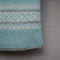Fair isle Blanket Pure Wool Blue