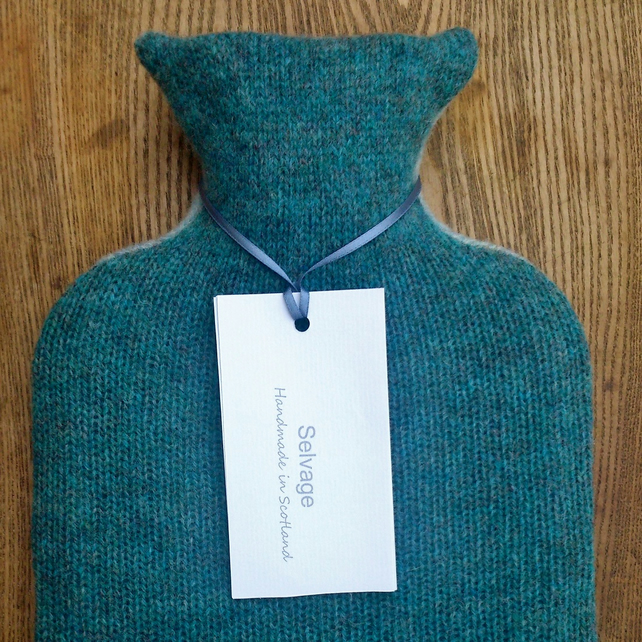 Hot water bottle pure wool blue