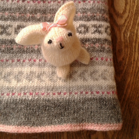 Fair Isle Wool Baby Blanket Pink