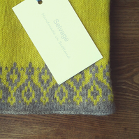 Pure Wool Scarf Grey and Yellow