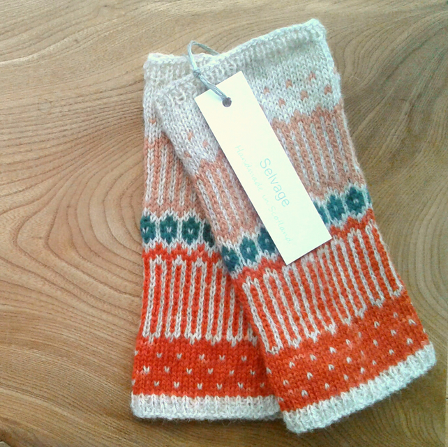 Fingerless Fair Isle Mittens Madder