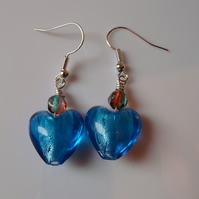 Reserved - Blue Hearted Earrings
