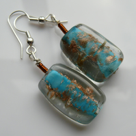 Reserved - Copper & Blue Glass Earrings