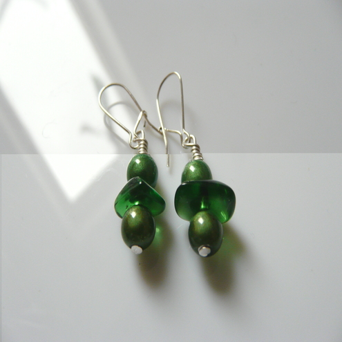 "Green ""Chip off the Old Block"" earrings"