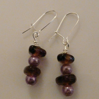 Purple Glass Earrings ***reserved***