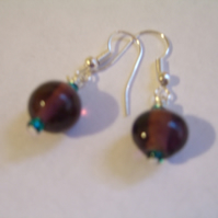 **reserved*** Purple Glass Earrings
