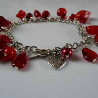 ***reserved***Beautiful Red Charm Bracelet