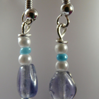 ***Reserved***Blue and White Glass Earrings