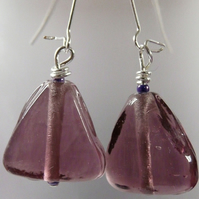 ***reserved*** Purple Glass Pyramid Earrings
