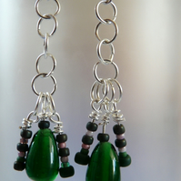 ***RESERVED*** Green Glass with Chain Maille Detail
