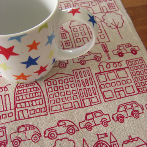 town screenprinted fabric