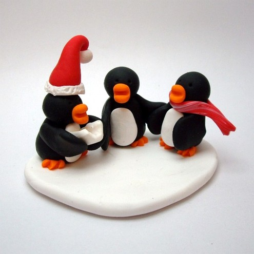 Penguin Christmas Cake Topper