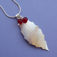 Sterling Silver Holly Leaf and Berry Pendant