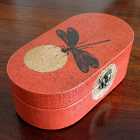 Red Dragonfly Oriental wooden oval small jewellery box