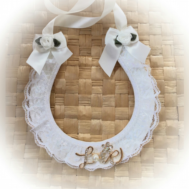Ivory and White Pearlescent Lace Lucky Wedding Horseshoe