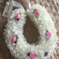 Cream Lace Lucky Wedding Horseshoe decorated with Pink Ribbon Roses, handknitted