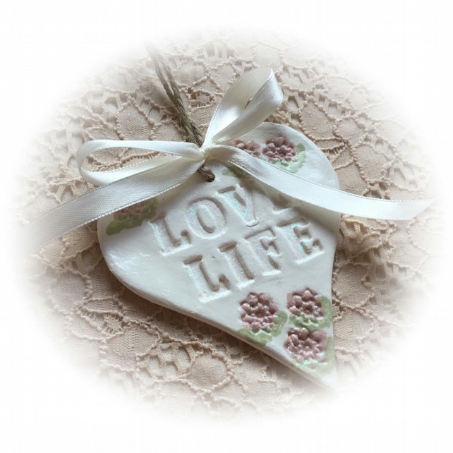 Love Life - Sparkly Clay Heart