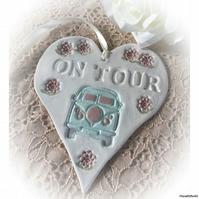 Large Sparkly Painted Clay Campervan Heart - On Tour