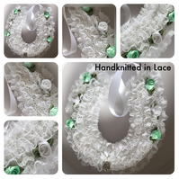 White Irridescent Lace Lucky Wedding Horseshoe