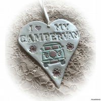 Large Clay Heart - I Love My Campervan