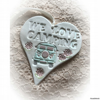 WE LOVE CAMPING Hanging Clay Heart