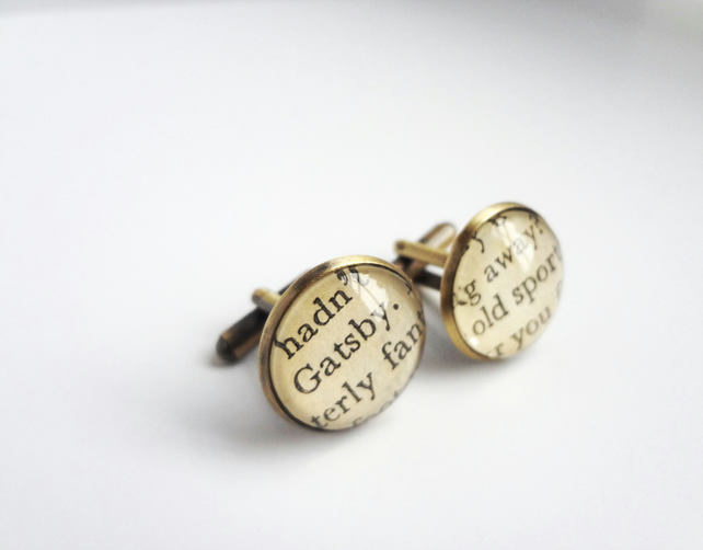 Cufflinks for Men, Bronze, Recycled Books, Great Gatsby