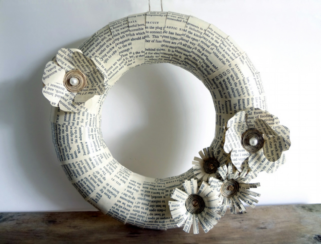 Door Wreath, Recycled Books, Flower Wreath, White, Pale