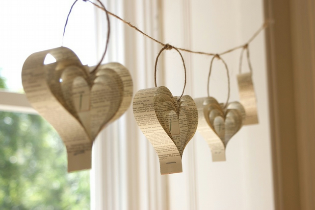 Recycled Book Bunting, Paper Garland