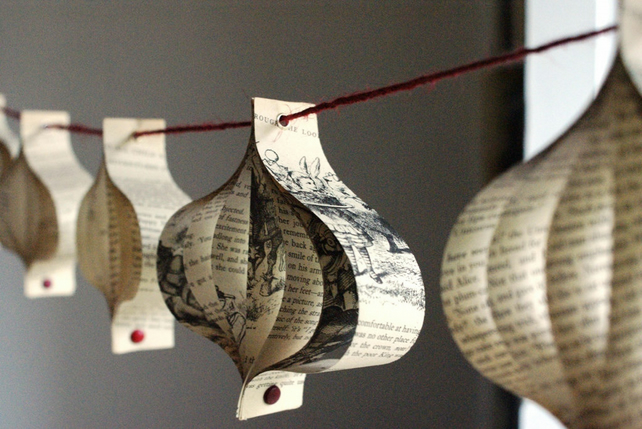 Paper Christmas Garland Upcycled Book Folksy