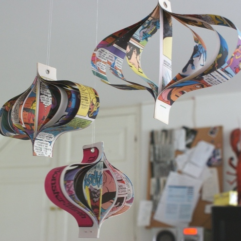 Hanging paper comic book decorations - set of three