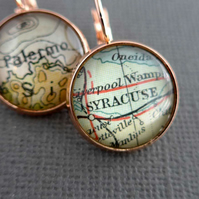 Personalised Rose Gold Earrings with Vintage Maps