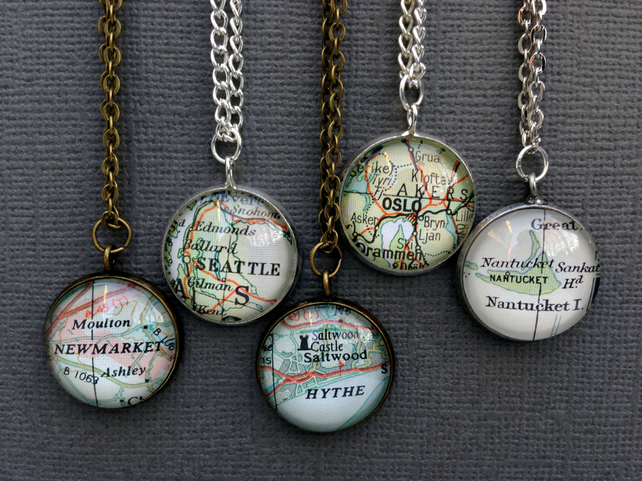 Personalised Pendant made with Vintage Maps - Choose Your Map