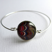 Marbled Book Endpaper Silver Plated Bangle