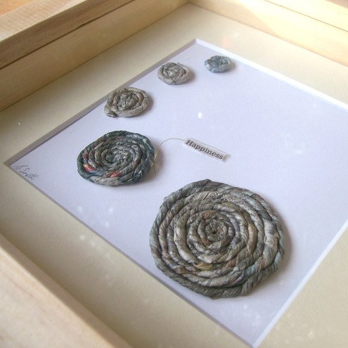 Framed art - newspaper yarn