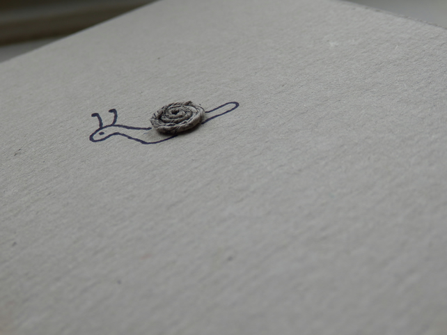 Snail moving home, new home card  - recycled