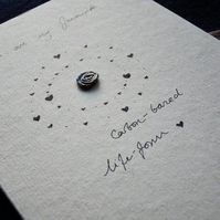 Recycled paper anniversary card - geeky, science, minimalist design